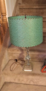 RETRO BRIGHT GREEN SHADE LAMP WITH CLEAR GLASS BASE