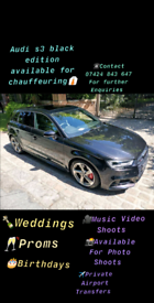 2018 Audi S3 Black Edition Available For Chauffeuring 👔