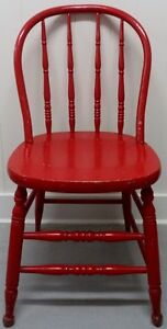 Antique BOW BACK Chair FIRE ENGINE RED Hardwood Vintage