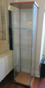 IKEA Detolf Glass-Door Display Cabinet (Birch)
