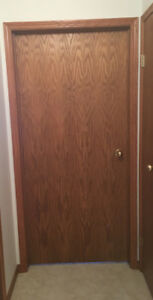 "6- 36"" hollow core oak doors with jams"