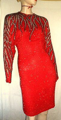 Vintage 80s Beaded Sequined Lillie Rubin Cocktail Red Flames Silk Dress - S