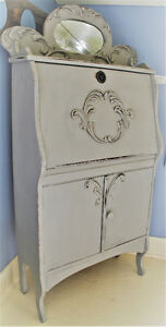 ANTIQUE WRITER'S CABINET, REFINISHED, FRENCH COUNTRY STYLE