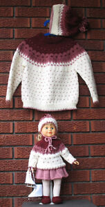 """Fair Isle Design Pullover -size 6, matching touque and 18""""doll"""