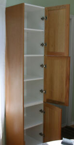 Pantry type cabinet with 3 adjustable shelves