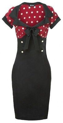 50er Jahre PinUp Kleid Vintage Retro Polka Dot Rockabilly Etui - Hell Bunny Rot ()