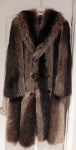 Natural raccoon fur coat for man.