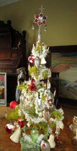 Antique Christmas goose feather tree ,glass items,Tinsel, cotton,barn - Germany
