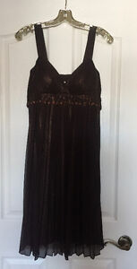 Dark Brown Cocktail Dress with Shimmering Overlay