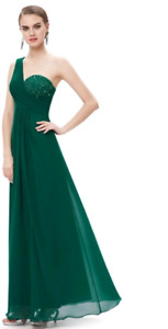 One Strap Emerald Green Gown