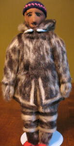 "13"" Inuk Man Inuit  Heritage Doll   Caribou Skin Attire   NWT"