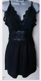 New PRETTY LITTLE THING Black Strappy Crochet Trim Playsuit,14