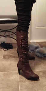 Dark brown leather stiletto boots, size 10, worn once, $40 ono St. John's Newfoundland image 1