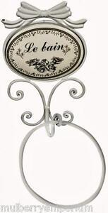 Shabby Chic Vintage Ivory Metal Le Bain Towel Ring
