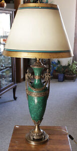 Vintage Green Enameled Brass Table Lamp With Original Shade