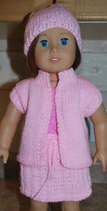 AMERICAN GIRL DOLL HAND KNIT 3PC SKIRT, VEST AND BERET