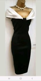 Karen Millen black ivory silky Bardot wiggle pencil occassion dress
