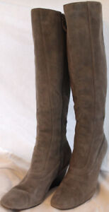 Cole Haan Nike Air Gray Suede Knee-High Wedge Boots US 10