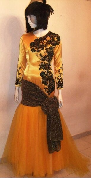 Bright Yellow / Black Mermaid Gown with intricate beadings. (Excludes Head-Piece)