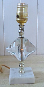 Vintage. Collection. Pied de lampe de table verre et marbre L