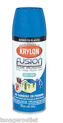 Krylon Fusion, 12oz Gloss Patriotic Blue Spray Paint for Plastic Surfaces 2329