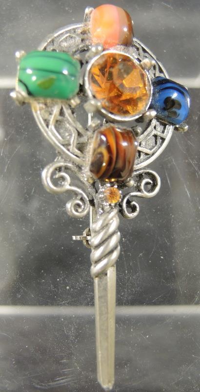 Antique Polished Pewter Celtic Cross Kilt Pin