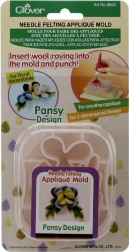 Clover Needle Felting Applique Mold - Pansy - Insert Roving into Mold and Punch