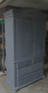 Beautiful Grey Solid Wood Wardrobe, armoire- loads of Storage