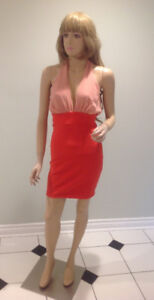 Lulu's two tone pink fitted dress with chiffon halter neck, NEW