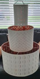 3 IKEA Nymo White & Rose Gold/Copper ceiling pendant light/lamp shades