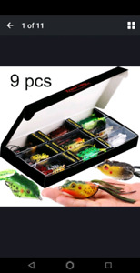 9pcs fishing lures with a box material: soft plastic