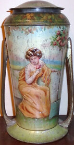 Antique Embossed Lithographed Grecian Style Tin With Handles Peterborough Peterborough Area image 2