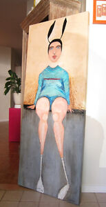 Fun/Hip contemporary acrylic painting large format 2'x5'