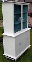 Distressed White and Duck-Egg Blue Hutch
