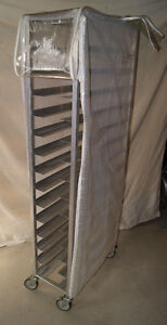 Special Narrow Aluminum rack on wheels for Bakery with cover