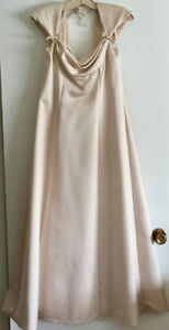Alfred Sung, formal, ankle-length, pale gold  dress (size 10)