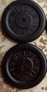 """Two WEIDER PLATES, standard 1"""",25 Kg each, 50 kg (110 lbs) total"""