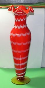 "Lovely Large Art Glass Vase 17"" Tall Execellent condition"