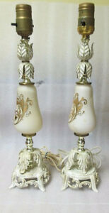 Pair Shabby & Chic French Provicial LAMP Base White Gold Metal S