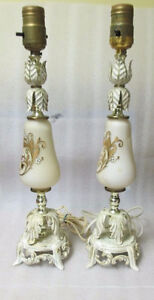 Pair Shabby & Chic French Provicial LAMP Base White Gold Metal S Peterborough Peterborough Area image 7