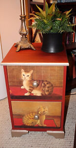 Small Cat Side Table with Drawers