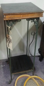 """Vintage Plant stand 27"""" High 10.5  x  10.5"""" Wrought Iron and Wo"""