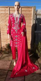 Pakistani Indian handmade Gotta work 3pcs linen suits