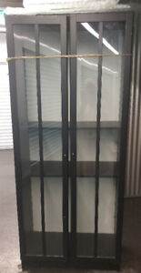 "Upright Showcase in black wood \glass 79""x40""x14""Good Condition"