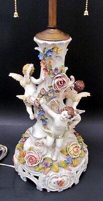 "Antique Hand Painted Large 24"" Dresden Cupid Porcelain Lamp 1900"