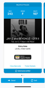 Two Beyonce Jay-z OTR II Tour tickets