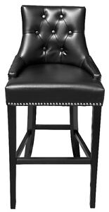 Black Tufted Leather BarStool n Counter Stool w/Silver NailHead