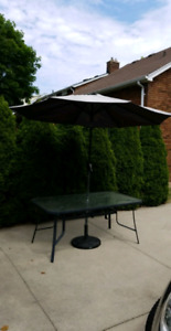 Patio Umbrella, Stand and table