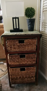 3 Drawer Wicker Cabinet - Solid Wood