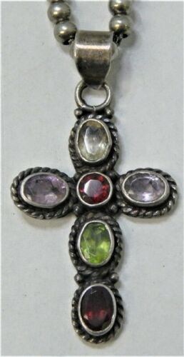 Vintage Sterling Bead Necklace  with accent cross.25g.